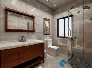 230平方復式別墅新中式主臥洗手間裝修效果圖