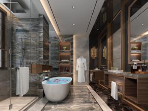 160平方長條躍層別墅新中式主臥洗手間裝修效果圖
