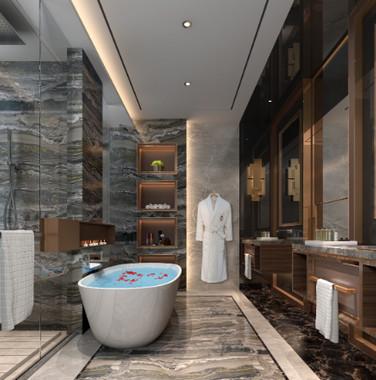 160平方长条跃层别墅新中式主卧洗手间装修效果图