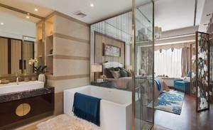 90平米別墅新中式主臥洗手間裝修效果圖