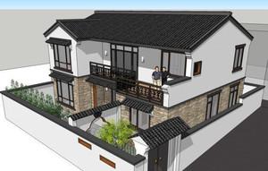 120平米房子二層新中式四合院別墅裝修效果圖