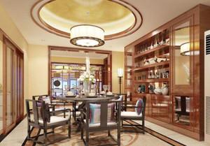 226平米房子新中式別墅餐廳背景墻裝修效果圖