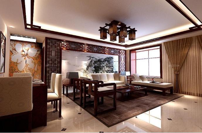 130平方房子新中式别墅大客厅吊顶装修效果图