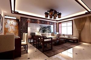 130平方房子新中式別墅大客廳吊頂裝修效果圖