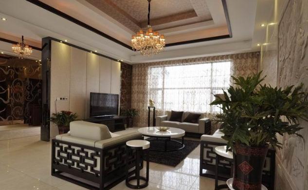 65万农村新中式别墅大客厅吊顶装修效果图