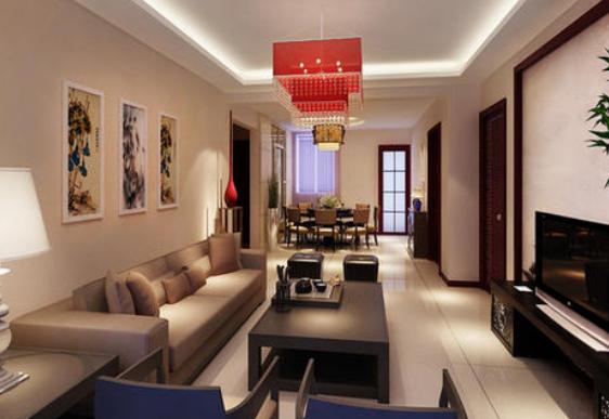 130平米新中式别墅大客厅吊顶装修效果图