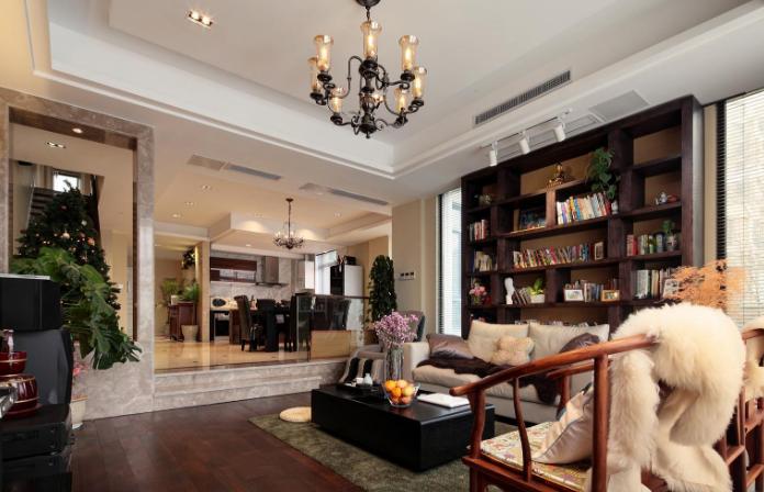 235平米房子新中式别墅大客厅吊顶装修效果图