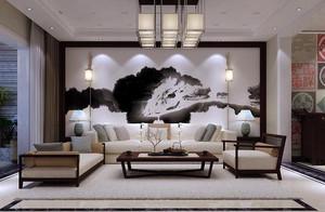 135平米新中式別墅大廳背景墻裝修效果圖