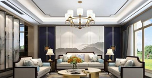 140平米新中式別墅大廳背景墻裝修效果圖
