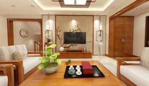 250平米房子新中式別墅客廳背景墻裝修效果圖