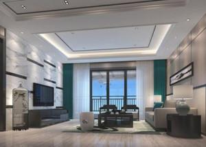 243平米公寓新中式別墅客廳背景墻裝修效果圖