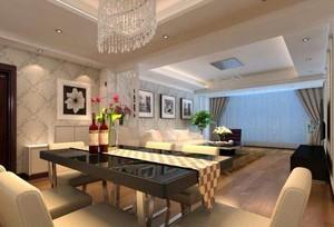 90平方房子簡歐風格客廳橫梁吊頂裝修效果圖