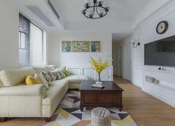 60平方公寓簡歐式風格客廳橫梁吊頂裝修效