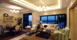 200平米躍層韓式風格客廳橫梁吊頂裝修效果圖
