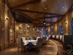 100平米西餐厅背景墙效果图