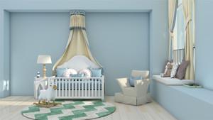 兒童房淺藍色墻面裝修效果圖