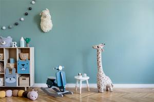 兒童房淡綠色墻面效果圖