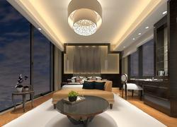 135平米中式風格錯層客廳設計效果圖