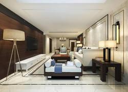 中式風格錯層客廳裝修設計圖