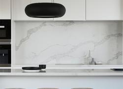 別墅小清新風格廚房純白色墻磚效果圖