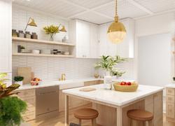 原木小清新風格廚房餐區一體化設計圖片
