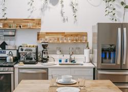 現代小清新風格廚房餐區設計圖片