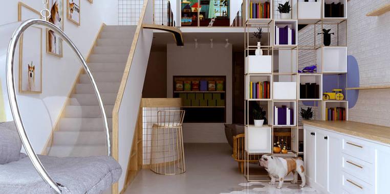 55平米自然风跃层楼梯装修设计效果图
