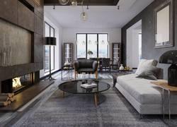 復式現代輕奢風格客廳裝飾效果圖片