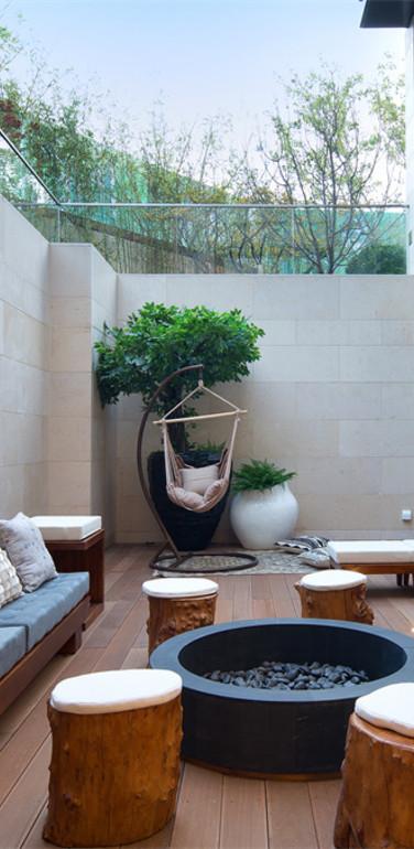 别墅后现代室外下沉式阳台设计效果图
