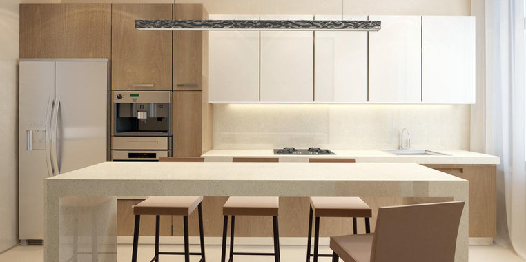 110平现代风格厨房餐区一体化设计图片