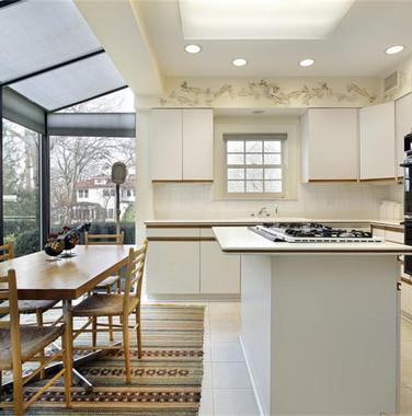 一楼别墅现代风格厨房餐区一体化设计图片