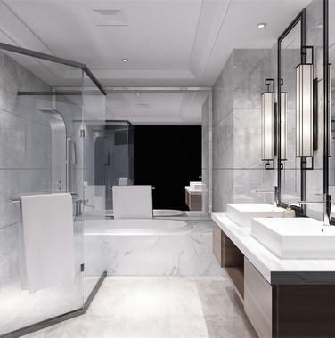 别墅后现代风格卫生间效果图