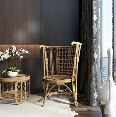 100平米后现代阳台单椅柜子组合效果图