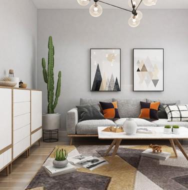 100平米北欧风格客厅设计效果图