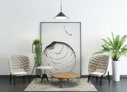 現代簡約風格客廳綠植搭配設計效果圖