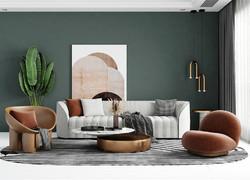 110平米北歐風格客廳家具裝飾效果圖