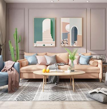 100平米北欧风格客厅墙面装修设计图