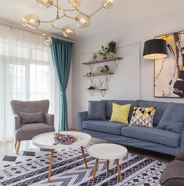 两居室北欧日式风格客厅家具设计图