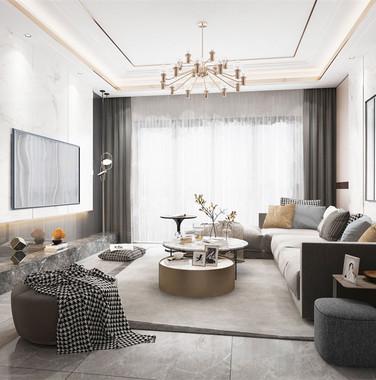 大户型北欧风格客厅家具装饰效果图