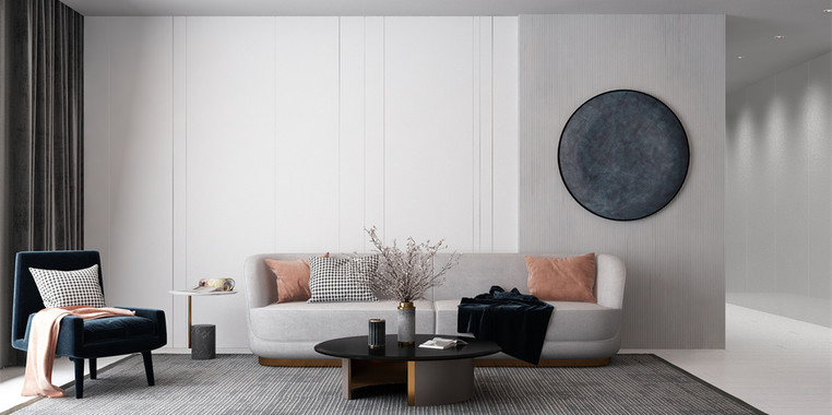 100平米极简风格客厅装修效果图