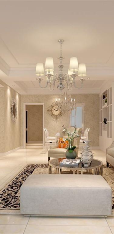 别墅简欧风格客厅墙面设计效果图