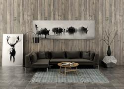 90平米歐式風暗色系客廳背景墻設計圖