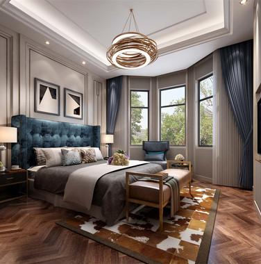 别墅欧式风格卧室灯具装修效果图