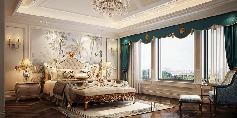 别墅欧式风格床头背景墙装饰效果图