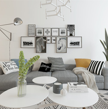 120平米欧式客厅照片墙装饰效果图