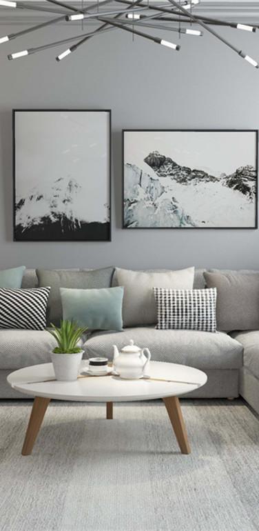 90平米欧式风格客厅沙发背景墙装修