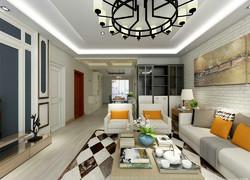 115平米簡歐風格客廳墻面設計效果圖