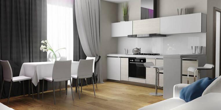 90平米简约风格开放式客餐厅装修设计
