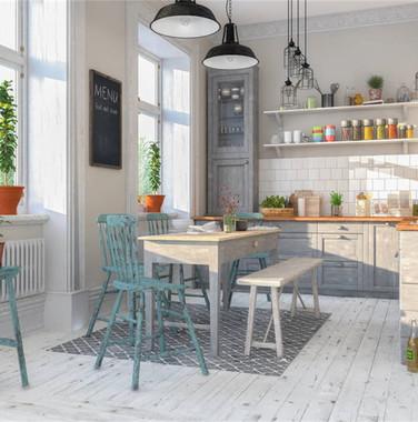 小清新风格厨房餐区一体化设计效果图