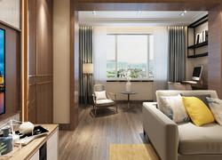 90平米簡約客廳飄窗設計效果圖